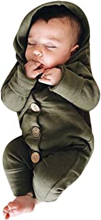 Baby Romper,Toddler Newborn Kids Girls Boys Solid Color Hooded Button Romper Jumpsuit Playsuit Outfits Clothes