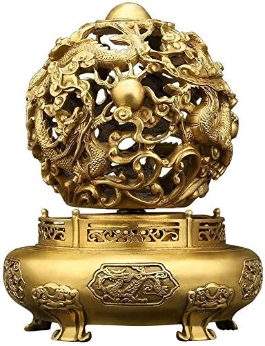 QMZDXH Feng Shui Statues and Figurines, Brass Nine-Turn Dragon Universe Ding Sculpture, Yin and Yang Restriction, The Best Housewarming Gift Ornaments, Brass