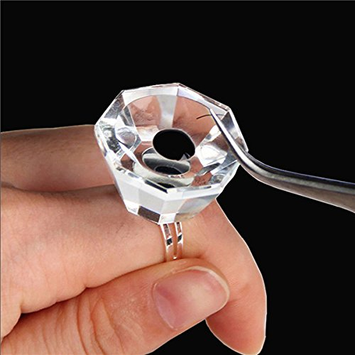 Bluelover Crystal Glass Adhésif Porte Anneau Palette Cils Extension Nail Art Maquillage Outils