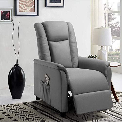 Pretzi Recliner Chair Adjustable Single Reclining Sofa with Footrest for Living Room Modern Linen Fabric Recliner Seat Chair with Pocket Home Theater Seating Bedroom (Grey)