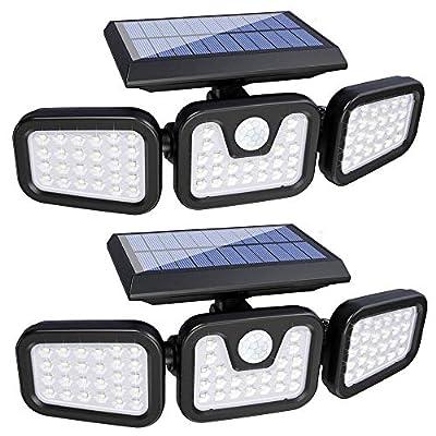 Solar Lights Outdoor,3 Head Motion Sensor Lights Solar Powered, 74 LED Security Floods Light IP65 Waterproof 270°Wide Angle Illumination Spotlights for Garden, Patio,Yard,Porch,Garage Pathway(2 Pack)