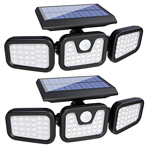 Solar Lights Outdoor,3 Head Motion Sensor Lights Solar Powered, 74 LED Security Floods Light IP65 Waterproof 270°Wide Angle Illumination Spotlights for Garden, Patio,Yard,Porch,Garage Pathway(2 Pack)