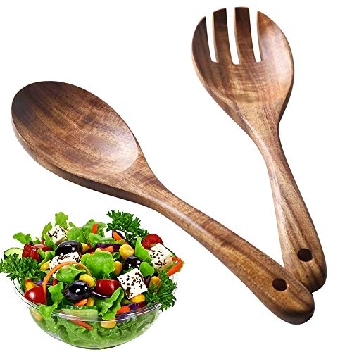 BESTZY 2Stück Holz Salatbesteck, Holz Löffel Gabel Salatbesteck Wiederverwendbare Umweltfreundliche Retro-Holzutensilien Holzspatellöffel für Antihaft-Pfannen