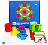 Freedom River Valley Wooden Pattern Blocks for Kids,155 pcs Geometric Shape Puzzles, Educational Montessori Learning Resources for Kids 3 + Years. Creative and Fun Tangram Toys! Great Value!