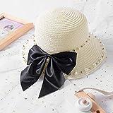 Padres e hijos Verano Nueva perla británica rebordear Lazo grande ala chica sombrero de paja bebé Sombreador sombrero para el sol Sombrero de playa para dama-Leche blanca_niño