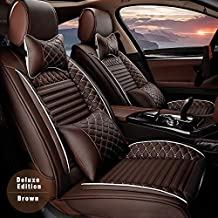 ALLYARD Car Seat Covers for Chevrolet Silverado 2017 5-Seat Custom PU Leather Front Rear Seat Pad All Season Protetion Full Set Easy Install(Airbag Compatible) Luxury Coffee