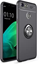 OPPO F5 Case, Ikwcase 360 Degree Rotating Ring Holder Case (Compatible with Magnetic Car Mount) Resilient TPU Drop Protection Case Cover for OPPO F5 Black
