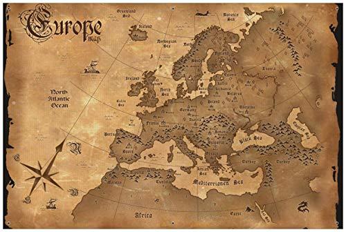 Wallario Garten-Poster Outdoor-Poster - Alte Weltkarte Karte von Europa in englisch in Premiumqualität, Größe: 61 x 91,5 cm, für den Außeneinsatz geeignet