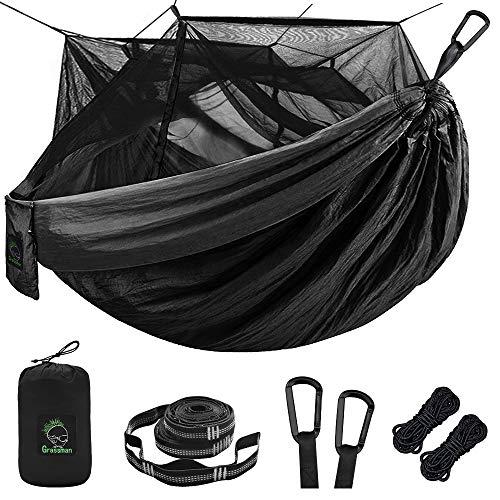 Einzel-und Doppel-Camping-Hängematte mit Moskito/Käfernetz, tragbare 210T Nylon Hängematte mit 10-Fuß-Hängematten-Baumgurten, 17 Schlaufen und Karabinern für Camping, Rucksackreisen, Reisen, Wandern