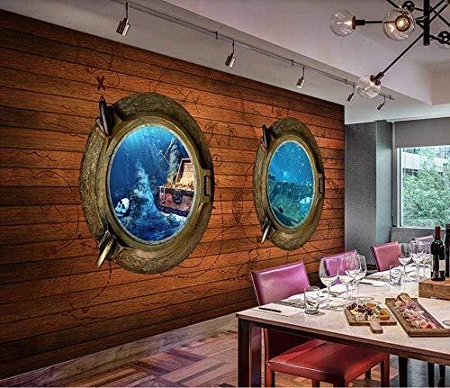 Adhesivo de pared de madera para ventana de fondo marino con imagen de tesoro para pared de pared para sala de estar, dormitorio, decoración de pared, 250 cm x 175 cm