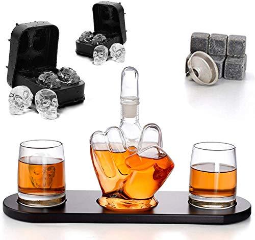 QSSQ Dedo Medio Decanter Whisky La Jarra, Botella De 1000 Ml De Vino Y 2 Piezas De 330 Ml De Vino De Vidrio, Base De Madera, Grandes Regalos para Cualquier