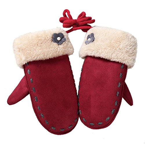 Baby Winter Warm Mittens,ChainSee Kids Boys Girls Thicken Floral Twist Gloves (Red)