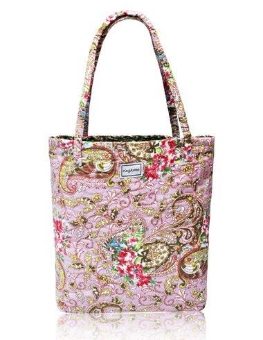 Borsa a spalla Ringarose reversibile trapuntata, in cotone, con motivo floreale, shopper riutilizzabile per libri e spesa,rosa fantasia