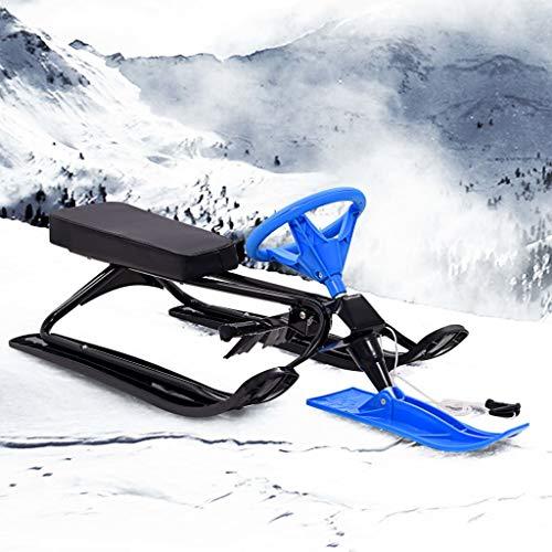 mewmewcat Schlitten Bob Schwarz und Blau Doppelsitzer Schneemobil Snowracer Lenkschlitten