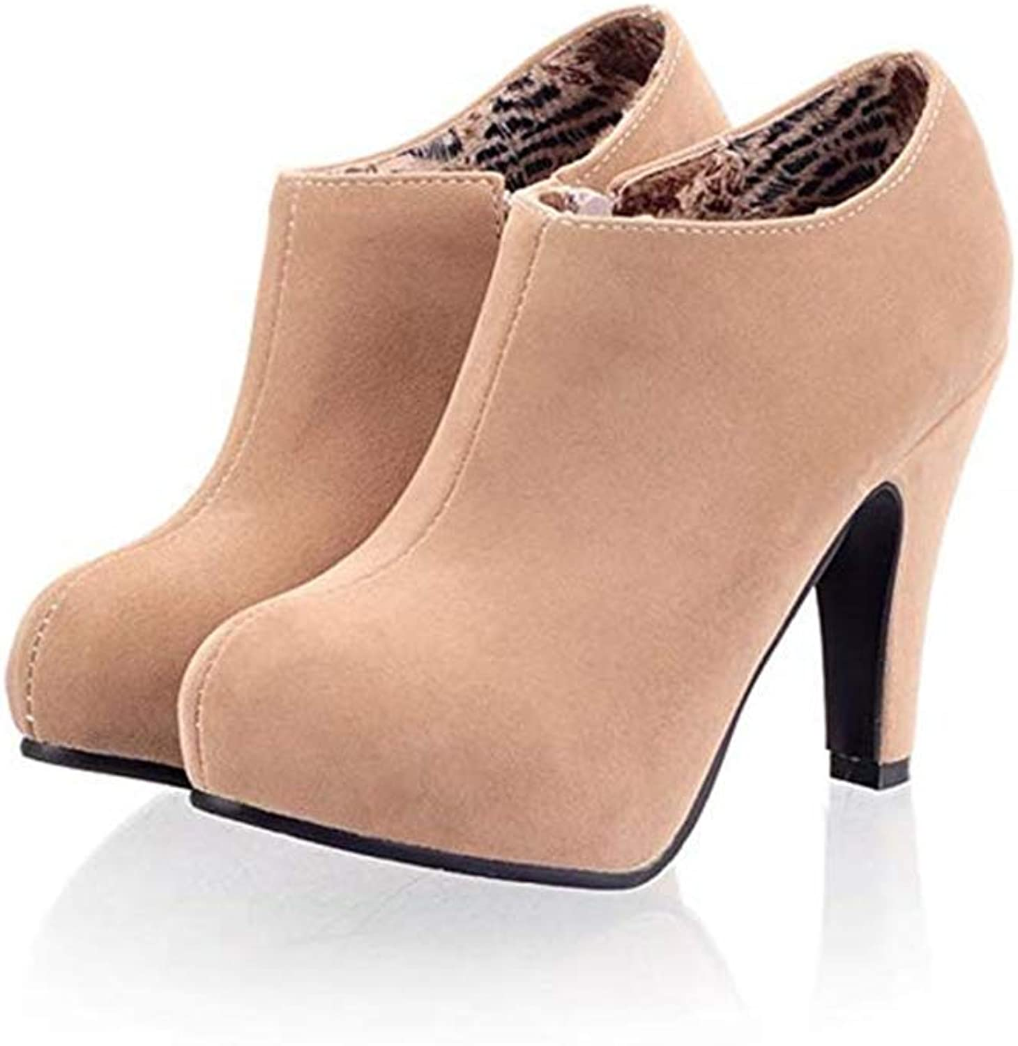 CHENSF Women's Fashion Sexy Platform Zipper Closure Dress Pumps Ankle Boots