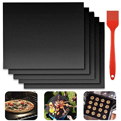 YISKY Tappetini per Barbecue, 5 Pezzi 40 x 33 cm Tappetino per Grill con 1 Pennello, Stuoie da Forno Antiaderente per Barbecue, BBQ Grill Mat Riutilizzabile, per griglia a Carbone, Gas o elettrica