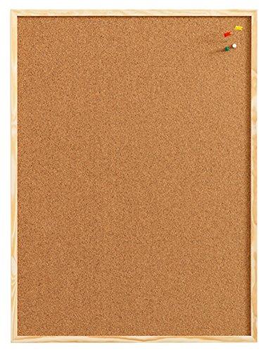 NAGA, prikbord van kurk. Met houten frame en 6 naalden. 60x100 kurk