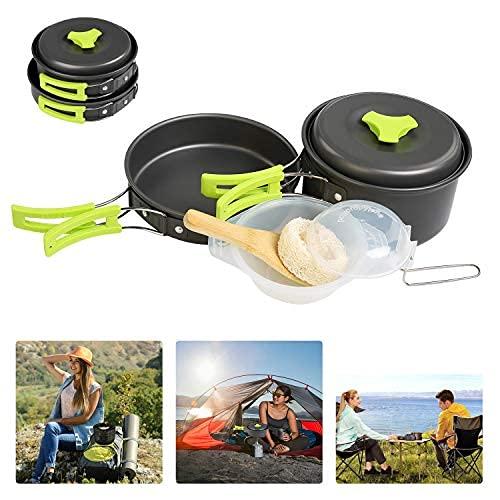 BelleStyle Utensilios Cocina Camping, 1-2 Personas Ligero y Portátil Utensilios de Cocina Camping Pots Set para Exteriores Cámping Mochilero Excursionismo Picnic (9 Piezas)