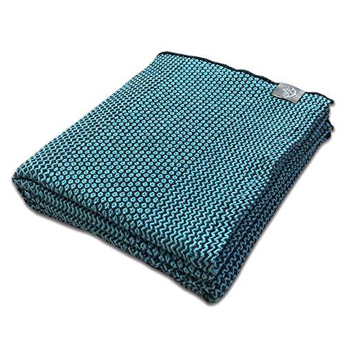 Craft Story Decke Joana I schwarz – türkis aus 100% Baumwolle I Tagesdecke I Sofa-Decke I Couch-Überwurf I Bedspread I Plaid I Kuscheldecke I 170 x 220cm