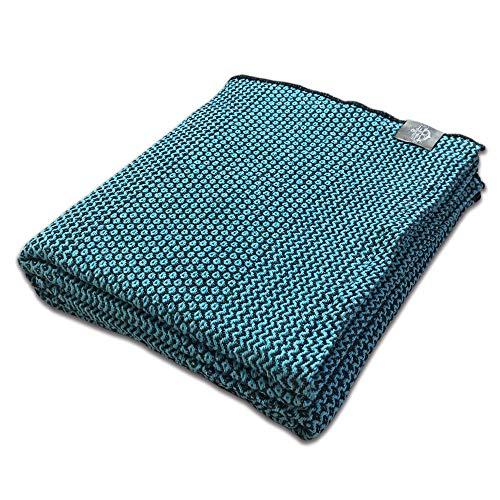Craft Story Manta Joana I Negra – Turquesa de 100% algodón I Colcha de sofá I Manta de sofá I Bedspread I Plaid I Manta Manta Manta I Manta I 170 x 220 cm