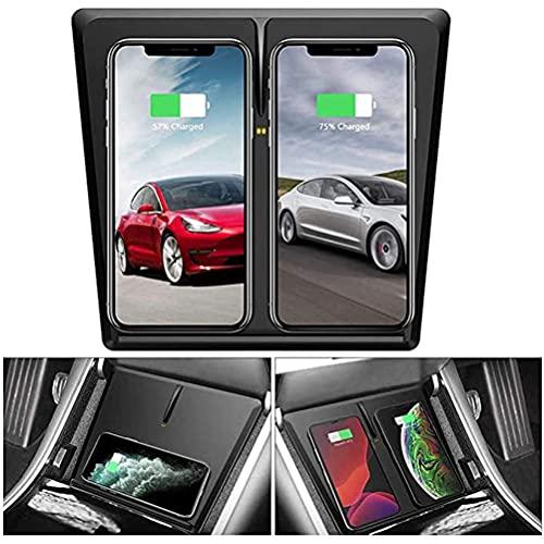 Cargador InaláMbrico para AutomóVil para El Panel de La Consola Central Del AutomóVil Tesla Model 3, Cargador de TeléFono InaláMbrico Qi Dual de 10 W Con Carga Horizontal/Vertical de 3 Bobinas