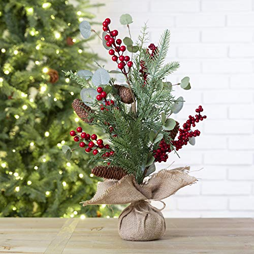 """Glitzhome 20""""H Christmas Pine Cone Floral Table Tree with Burlap Base Decorative Berries Pine Needle Tree Table Centerpiece for Christmas Party Festival Home Decor"""