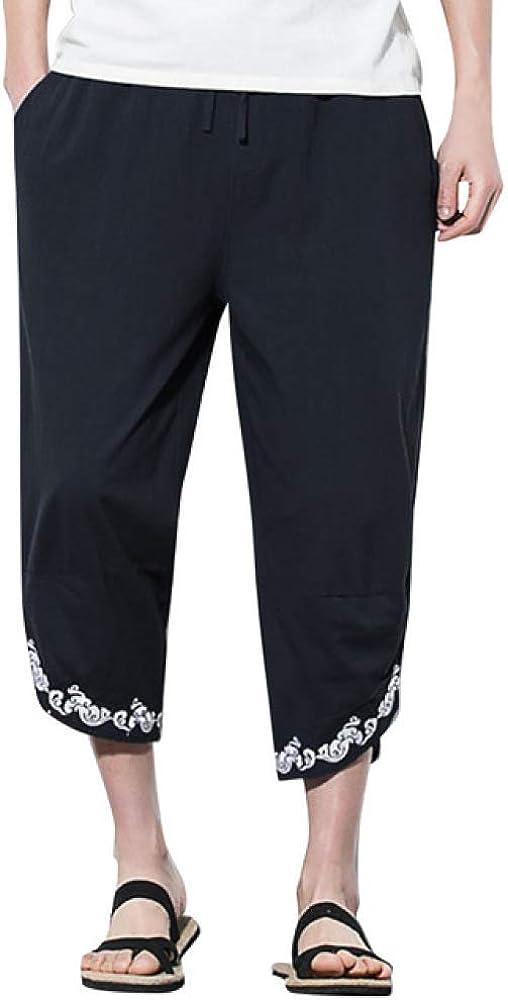 Loeay Pantalones de harén Casuales para Hombre de Verano Pantalones de Jogging Pantalones de Fitness Pantalones de Lino Sueltos de Cintura elástica Pantalones Casuales de Vacaciones
