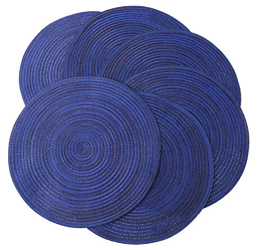 Peking Round Placemats Set of 6, Cotton Woven Placemat Heat-Resistant Non-Slip Washable Table Mats for Dining Table 15 Inch