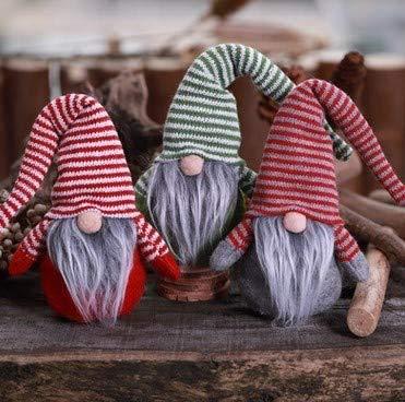 KERIQI 3pcs Christmas Gnome Gifts Holiday Decoration Kids Birthday Present Handmade Tomte Plush Doll, Home Ornaments Tabletop Santa Figurines Fireplace Mantel Decor