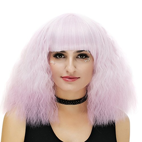 39,9 cm pour femme Rose Violet court bouclés Halloween Cosplay Perruque avec capuchon Gradual Couleur