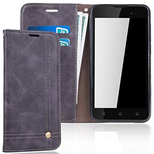 König Design Handyhülle Kompatibel mit Wiko Sunny 2 Plus Handytasche Schutzhülle Tasche Flip Hülle mit Kreditkartenfächern - Grau