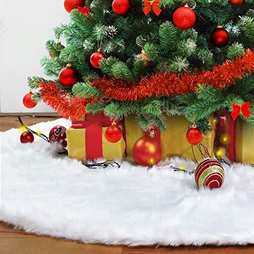 Rorchio 90cm Baumdecke Weihnachtsbaum Rock, Weihnachtsbaumdecke Plüsch Weihnachtsbaum Rock Weihnachtsbaumdecke Groß Weiß Christbaumständer Teppich für Weihnachten Deko