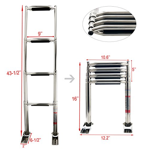 Amarine Made 3/4 Step Wide Steps Stainless Steel Telescoping Boat Ladder Swim Step More Durable Pedal (4 Step)