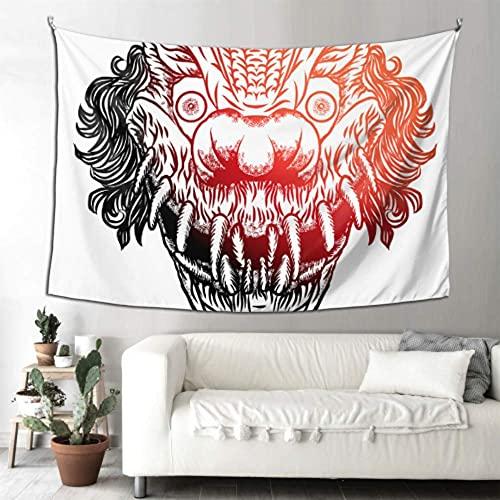 N\A Baño Arte de la Pared Decoración Scary Devil Clown Head Tapicería de Pared Decorativa Tapiz de Pared Arte para Colgar en la Pared Hogar para Sala de Estar Dormitorio