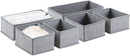 mDesign Aufbewahrungsbox 6er-Set – Sechs Organizer in zwei Größen – Universelles Aufbewahrungssystem für Zubehör, z.B. Windeln, Tücher, Utensilien – Farbe: Grau