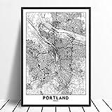 Leinwanddruck,Portland Schwarz Weiß Benutzerdefinierte