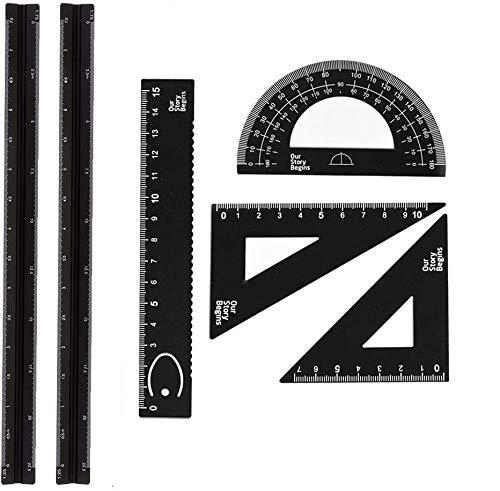 6 Piezas Arquitecto Triangular Regla De Escala Conjunto, 2 Piezas Regla La Regla Del Triangular De 12 Pulgadas + 4 Piezas Regla Cuadrada De La Regla Del Triángulo, Para Arquitectos, Estudiante