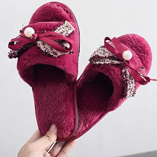 ZHBH Zapatillas de algodón para Mujer Otoño e Invierno Cálido Casual Inicio Zapatos de Mujer Zapatos Planos con Lazo Simple Flip Flop (Color: Rojo, Tamaño: # 41) Sandalias Informales