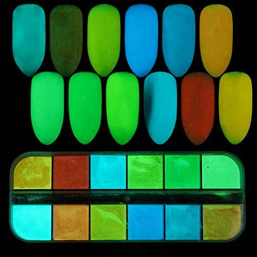 Quanjucheer - Polvere glitterata per unghie, fai da te, per manicure, pigmento luminoso, decorazione natalizia