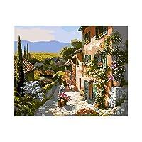 DIYの油絵 ナンバーキットでペイント 大人の子供向け初心者、キャンバスに絵を描く16x20インチ(フレームなし)-小さな町