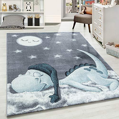 Carpetsale24 Kinderteppich » BAMBIX «, Kinderzimmerteppich, Dino Wolke Figur Kinderzimmer Babyzimmer,7 mm, Rechteckig, BLAU, Maße:160 cm x 160 cm Rund