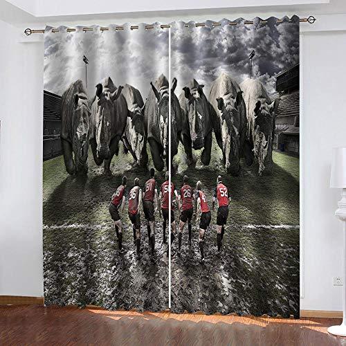 BHOMLY Cortinas Opacas 2 Piezas 200X160Cm Salón Dormitorio Decoración De La Ventana...