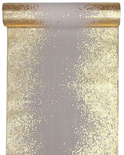 RP RIBBON Designer-Tischläufer, Baumwolle, naturfarben mit Metallic-Gold, Roségold oder Silberdruck, 28 cm x 3 m, ideal für Partys und Weihnachten. Gold