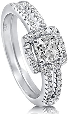 BERRICLE Rhodium Plated Sterling Silver Cushion Cut Cubic Zirconia CZ Halo Wedding Engagement product image