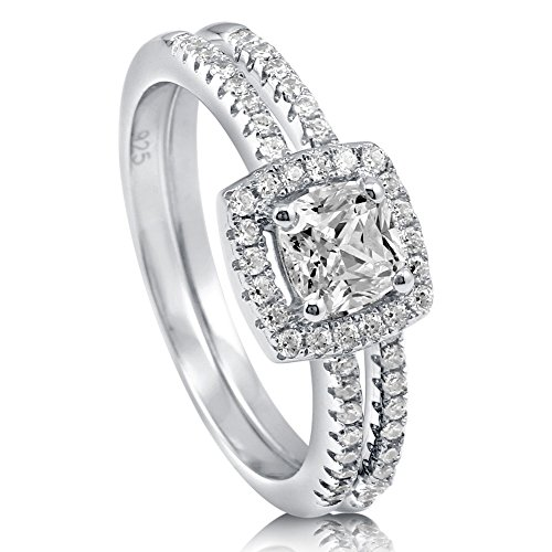 BERRICLE Rhodium Plated Sterling Silver Cushion Cut Cubic Zirconia CZ Halo Engagement Wedding Ring Set 0.89 CTW Size 7