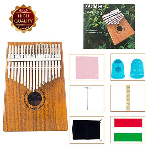EastRock Kalimba 17 Keys Thumb Piano with Tune HammerPortable Musical Instrument Gifts for Kids and Adult Beginners KalimbaMbira Acacia/Koa)