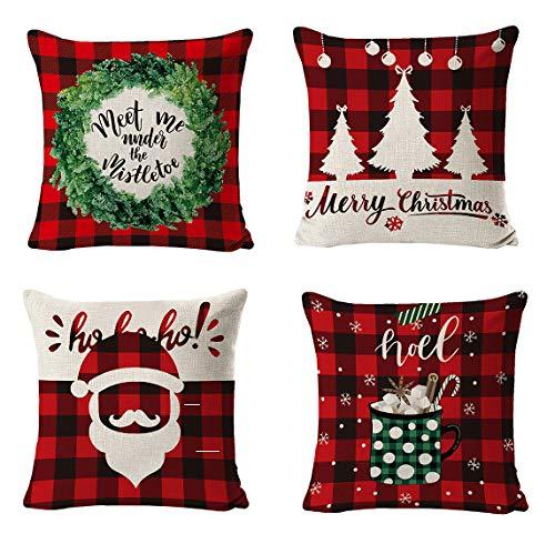 QCWQMYL Christmas Plaid Pillow Cover 18 x 18 Set of 4 Red and Black Buffalo Check