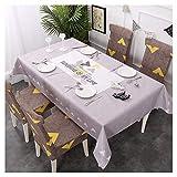 GUOCU Mantel Rectangular Impermeable Antimanchas Algodón Lino Mantel de Mesa Decoración para Cocina Comedor Fiesta Mantel Silla Juego de Tela Sol Cuatro Fundas para sillas