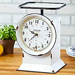 Briskly41 Vintage Inspired Grocery Scale Clock Decorative Weighing Table Top Metal Finish Farmhouse Country Rustic Kitchen Home Decor