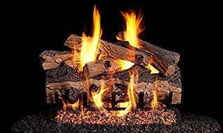 Peterson Real Fyre 24-inch Gnarled Split Oak Designer Log Set With Vented Natural Gas G4 Burner - Match Light
